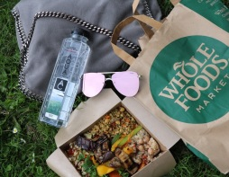 Having a Picknick in the park, and the food is from Whole Foods (... obviously.)